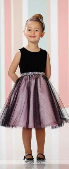 Joan Calabrese Flower Girl Dresses Joan Calabrese for Mon Cheri – Fall 2016 – Style No. 216320 – velvet and tulle flower girl dress with hand-beaded waistband in black and pink Tulle Flower Girl, Flower Girl Dresses, Flower Girls, Toddler Dress, Baby Dress, Little Girl Fashion, Kids Fashion, Fashion Games, Trendy Fashion