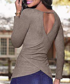 Women's Scoop Neck Cut Out Long Sleeve Pure Color T-Shirt