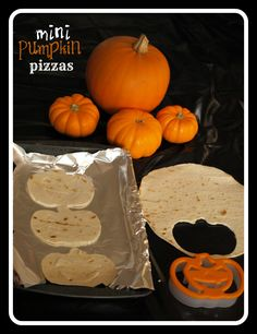 Pumpkin Pizza - use tortillas as a light and HEALTHy base and cut with pumpkin shaped cookie cutters for the children to decorate. FUN!