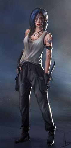 Blue Lotus Commission by - Fantasy Figuren Female Character Design, Character Design Inspiration, Character Art, Cyberpunk Girl, Arte Cyberpunk, Chica Fantasy, Fantasy Girl, Warrior Girl, Fantasy Warrior