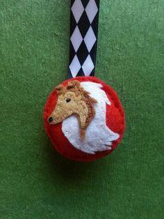 Rough Collie / Shetland Sheep Dog Hand Sewn Felt Keychain / Zipper Pull / Ornament / Stocking Stuffer