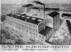 Etter brann ved den første kjeksfabrikken i Heggedal flyttet Sætre til Vålerenga i Oslo i 1905. Her fra en plakat i 1913