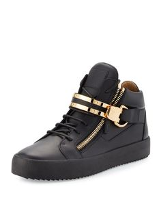 Giuseppe Zanotti Men's Leather Mid-Top Sneaker w/Double-Bar Strap