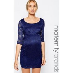 Ik vond dit op Beslist.nl: New Look Maternity 3/4 Sleeve Lace Bodycon Dress