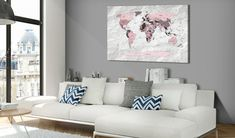 'Pink Continents' Graphic Art Print on Wood Brayden Studio Size: H x W Painting Frames, Painting Prints, Canvas Prints, Art Prints, Frames On Wall, Framed Wall Art, Cork Map, 3 Piece Wall Art, Wall Art Designs