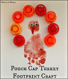 Pouch Cap Turkey Footprint Craft - House of Burke