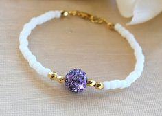 Joyería de cristal púrpura y oro amistad pulseras
