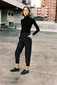 "High waisted copped tapered pants ""Georgia Skivvy"" by Caves Collect Studio"