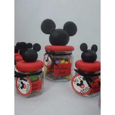 Souvenir Frasquito Hexagonal De Vidrio Mickey - Minnie - $ 25,00