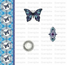 Butterfly Purple Aqua Jewel Pearls Amethyst Purple by TahDahStudio, $3.00