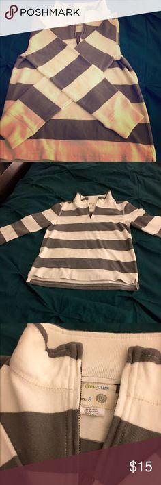 Grey/white rugby stripe half-zip pullover J Crew kids pullover, worn once (excellent condition!) 100% cotton J. Crew Shirts & Tops Sweatshirts & Hoodies