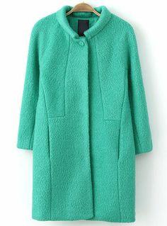 Green Lapel Long Sleeve Loose Woolen Coat EUR€44.19