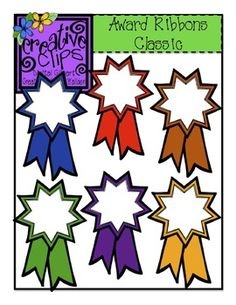 This set has 6 crisp, colorful images and 1 black and white version of the award ribbon. All files are in png formats. These fun images are perfect for celebrating your students' success!Creative Clips Digital Clipart is created by Krista Wallden. Classroom Organization, Classroom Decor, Classroom Clipart, Creative Clips, Ribbon Clipart, Certificate Templates, Teaching Tools, Teaching Resources, Free Printables