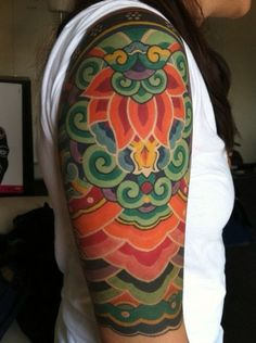 Tibetan mandala pattern, design by Tashi Mannox----love the white outline