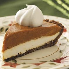Gingersnap Pumpkin Pie Recipe -The fantastic flavor from this pie comes from butterscotch pudding and canned pumpkin, which work surprisingly well together. Kids will go wild over the cream cheese layer! —Taste of Home Test Kitchen
