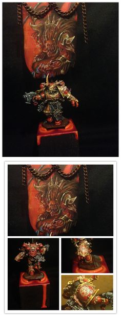 Dark Vengeance Chaos Space Marine Chosen with Standard. Really over the top but badass painting of Angron on the banner