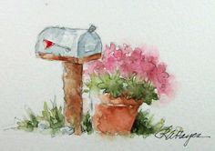 Mailbox and Pink Flowers Watercolor Painting by Rose Ann Hayes