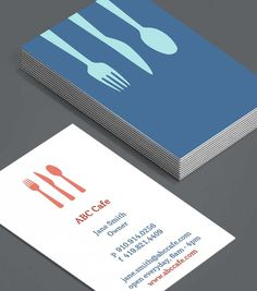 Food and beverage business cards fb organic food drink caf utensils theres always a welcoming place laid at your table with these warm pastel business cards ideal for your caf restaurant colourmoves
