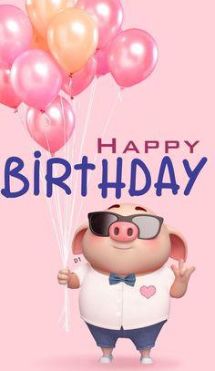 Cute Piggy 🐷 wishes Happy Birthday. Happy Birthday Pig, Happy Birthday Pictures, Happy Birthday Messages, Happy Birthday Quotes, Happy Birthday Greetings, Pig Wallpaper, Cute Piglets, 3d Art, Pig Illustration
