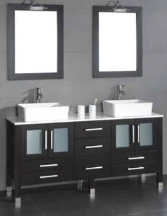 Cambridge Plumbing 71 inch solid wood bathroom vanity set with a white porcelain counter top and two matching white vessel sinks. Black Vanity Bathroom, Small Bathroom Vanities, Double Sink Bathroom, Double Sink Vanity, Vanity Set With Mirror, Wood Vanity, Wood Bathroom, Modern Bathroom, Bathroom Ideas