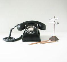 Vintage Bakelite Telephone - Black Art Deco - Red Bar - Kellogg on Etsy, $210.00