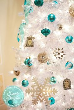 Turquoise, Silver, Mercury Glass Christmas tree