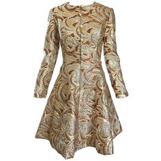 Preowned 1960s Richard Tam Neiman Marcus Bronze Gold Silver Metallic... ($1,275) ❤ liked on Polyvore featuring dresses, brown, cocktail dresses, stretch dresses, button down dress, a line cocktail dress, a line dress and flared dresses