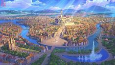 Fantasy City, Fantasy Castle, Fantasy Places, Fantasy World, Fantasy Art Landscapes, Fantasy Landscape, Urban Landscape, Landscape Art, Fantasy Concept Art