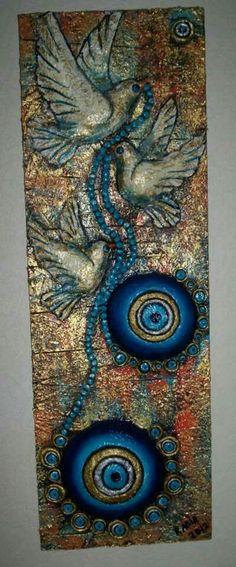 Nazar boncuğu Güvercin Tile Art, Mosaic Art, Clay Wall Art, Mosaic Madness, Simple Acrylic Paintings, Mandala Art, String Art, Stone Painting, Painting Techniques