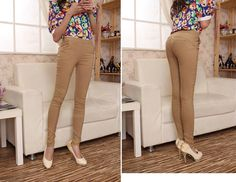 Stunning Solid Color High Waist Springy Cotton Blend Women's Pencil Pants