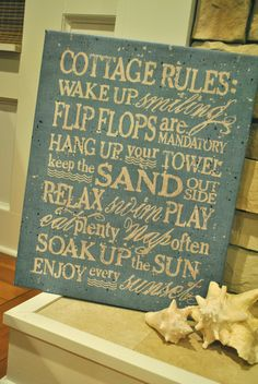16x20 Cottage Rules Canvas Print in Robin's by GraphicallySpeak. $54.95, via Etsy.