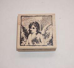 Inkadinkado NEW Shining On Angel Heaven 1005 Rubber Stamp Tin Can Mail Religious #Inkadinkado