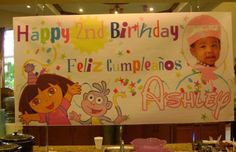 Dora the Explorer Birthday Banner -Personalized by www.bannergrams.com
