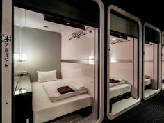Stay right by the heat of Roppongi, Tokyo with our list of the top 10 best capsule hotels there. Sleeping Pods, Hotel Sheets, Capsule Hotel, Hotel Room Design, Tiny Apartments, Kabine, House Design, Hilton Hotels, Marriott Hotels