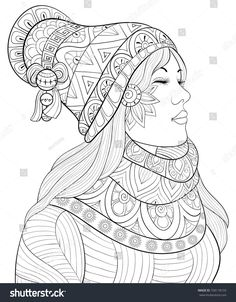 Adult coloring page,book a cute girl wearing scarf and cap.Zen art style illustration.