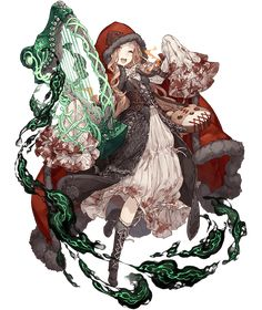 View an image titled 'Red Riding Hood, Sloth Bear Minstrel Job Art' in our SINoALICE art gallery featuring official character designs, concept art, and promo pictures. Female Character Design, Character Design Inspiration, Character Concept, Character Art, Concept Art, Alice, Spaceship Art, Anime Weapons, Red Riding Hood