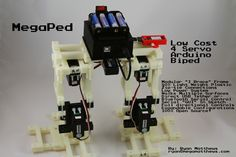 "MegaPed: Yo, This Instructable details how to build a low cost 4 servo Arduino Uno controlled bipedal robot that is framed with inexpensive printed ""I Braces""; that can hold a standard servo and interconnect with additional braces to form various modul. Servo Arduino, Open Source Hardware, Arduino Projects, Braces, 3d Printer, Usb Flash Drive, Gadgets, Cool Stuff, Robotics"