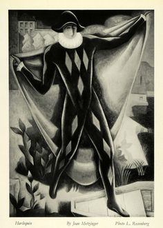 Jean Metzinger   Harlequin Pierrot Clown Costume French Pantomime Actor - Original Halftone Print   by Period Paper