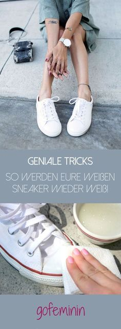 Dann gibt es jetzt die besten Tricks dafür… The white sneakers are dirty? Then there are the best tricks for that … Genius Ideas, Diy Mode, Sneakers Looks, Clothing Hacks, House Cleaning Tips, Cleaning Diy, Hacks Diy, Clean House, Diy Clothes