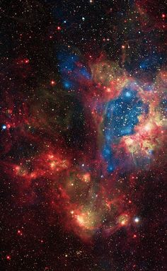 Superbubble located in a star cluster in the N44 nebula, inside the Large Magellanic Cloud. The image is a composite, with the blue, high-energy portion taken by NASA's Chandra X-ray Observatory. Additional data comes from the Spitzer space telescope, which observes cooler infrared wavelengths (outlined in red) and the European Southern Observatory's Max-Planck-ESO telescope, which sees in ultraviolet (yellow).