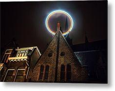 Night Lights Of Utrecht. Halo At Willibrorduskerk. Netherlands Metal Print by Jenny Rainbow Art Prints For Home, Home Art, Fine Art Prints, Framed Prints, Poster Prints, Rainbow Metal, Amsterdam Holland, Aluminium Sheet, Utrecht