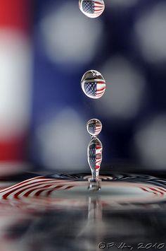 Water drip photo - Patriotic style.  Photo by Paul Van Allen.