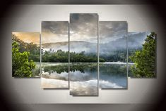 5 Pieces Multi Panel Modern Home Decor Framed Morning Fog Lake Scenery Wall Canvas Art - Octo Treasures - 1