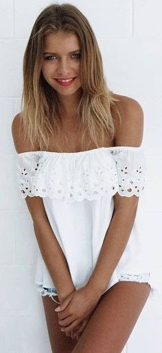 #summer #mishkahboutique #outfits | White Cute Top