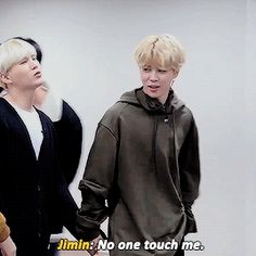 """No one touch me"" he says while holding Yoongi's hand"