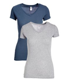 Pima Apparel Indigo & Heather Gray V-Neck Tee Set - Women | Zulily