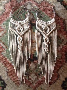 Fringe/boho style macrame earrings made on sterling silver hoop earrings Handmade with L O V E <3 Measures approx 8 long including hoop << Please note these are made to order and are slightly unique from one another >> **Ships in 7-10 business days**