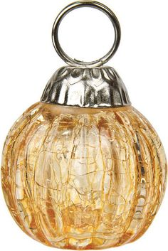 amber yellow place card holder miniature glass bauble