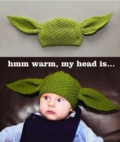 funny star wars pictures, yoda hat :D I need to make this!  There are more Star Wars funnies on the link :)