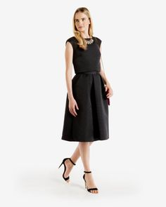 Ribbed midi skirt - Black | Skirts | Ted Baker UK